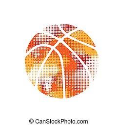 orange, halftone, basket-ball