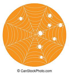 Orange halloween background with web