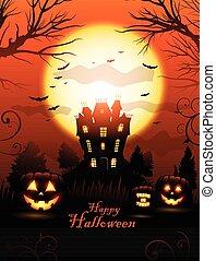 Orange Halloween haunted house background