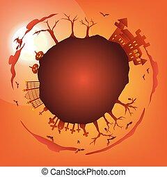 orange halloween party circle gradient greeting