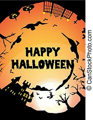 orange halloween party circle silhouette greeting