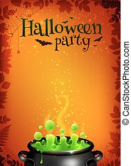 Orange Halloween poster template with green potion in black cauldron