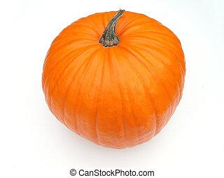 pumpkin - orange Halloween pumpkin with green stalk on white...