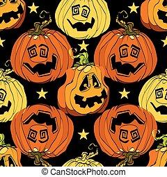 Orange Halloween pumpkins smiling repeat pattern.