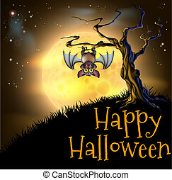 A spooky scary orange Halloween background scene with vampire bat hanging from a spooky tree with a full moon in the background