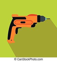 Orange hand drill icon, flat style
