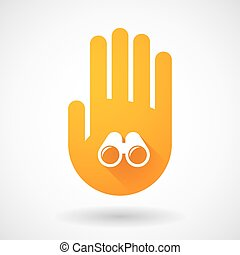 Orange hand icon with a binoculars