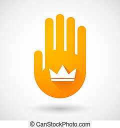 Orange hand icon with a crown