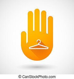 Orange hand icon with a hanger