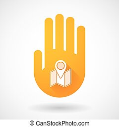 Orange hand icon with a map