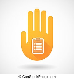 Orange hand icon with a report