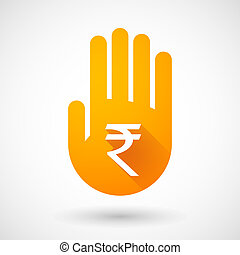 Orange hand icon with a rupee sign