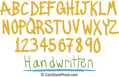 hand witten fun alphabet