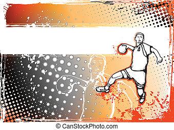 orange, handball, plakat
