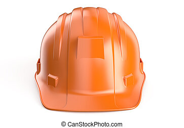 orange Hard Hat - Construction Hard Hat isolated on white...