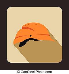 Orange hardhat icon, flat style