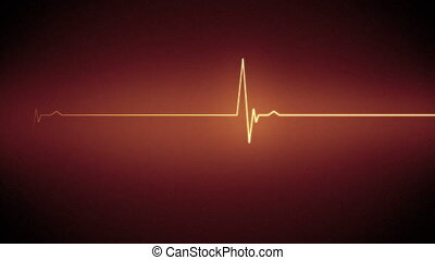 Orange heart monitor line - Orange ECG heart monitor line on...