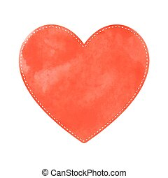 Orange heart on white background