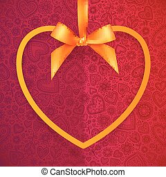 Orange heart shape frame hanging on silky ribbon with bow, greeting card template