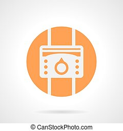 Orange heat regulator round vector icon