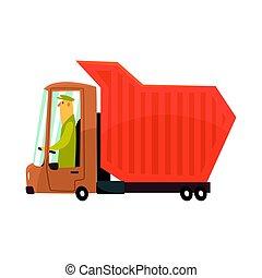 Orange heavy duty dump truck, freight transport cartoon ...