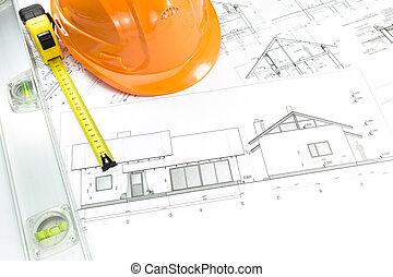 Orange helmet and project drawings