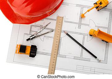 orange helmet, ruler, pencil, drawing, construction equipment