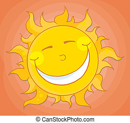 orange, heureux, ciel, soleil