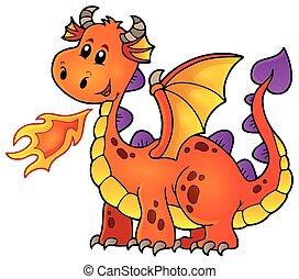 orange, heureux, dragon