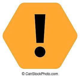 Orange hexagon exclamation mark icon warning sign