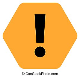 Orange hexagon exclamation mark icon warning sign