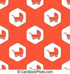 Orange hexagon pram pattern