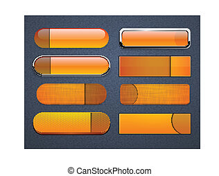 Orange high-detailed modern web buttons.
