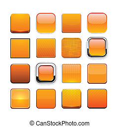 Orange high-detailed modern web buttons. - Set of blank...