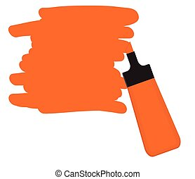 Orange highlighter pen with orange area for writing a message.
