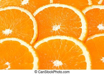 orange hintergrund, gemacht, von, scheiben, von,...