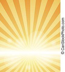 orange hintergrund, mit, sunburst.