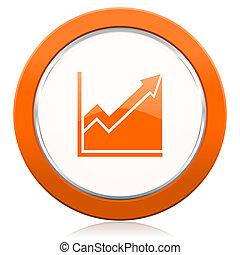 orange, Histogramm, zeichen, Bestand, Ikone