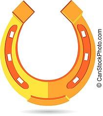 Orange horseshoe in a flat style, on a white background.
