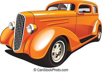 Vectorial image of old-fashioned orange hot rod, isolated on white background. Contains gradients and blends.