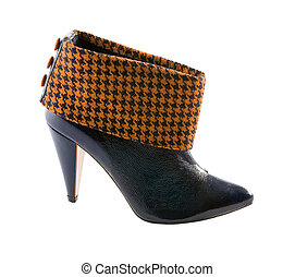 Orange houndstooth check and black leather high heels bootie...