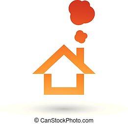 Orange House and Smoke Icon Vector Illustration