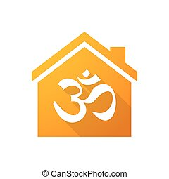 Orange house icon with an om sign