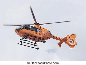 orange, hubschrauber, rettung