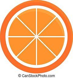 orange, icône, couper, vecteur, illustration