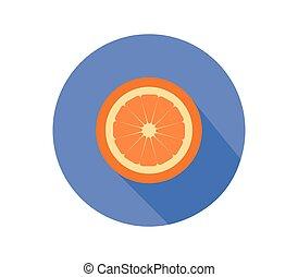 orange, icône, illustré, fond, fruit, blanc, vecteur