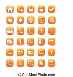 orange, icônes toile, boutons