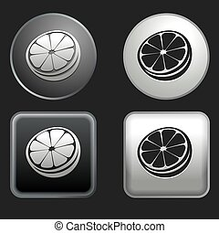 orange icon on round and square buttons
