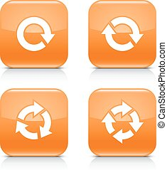 Orange icon refresh reload, rotation, repeat sign