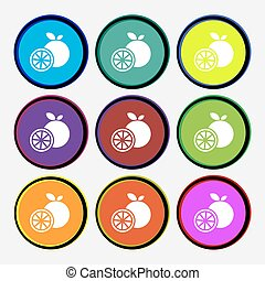 orange icon sign. Nine multi colored round buttons. Vector